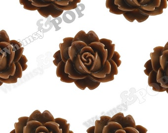 Chocolate Brown Cabbage Rose Cabochons, Flower Cabochons, Flower Shaped, Flatback Flowers, Flat Back Cabochons, 18mm x 16mm (R3-001)