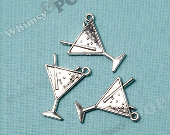 Double-Sided Large Martini Pendant Charms, Martini Charms, Drink Charms, Tibetan Silver (R5-194)