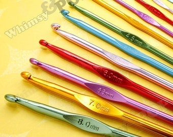 12 - Crochet Hook Set, Crochet Hooks, Crochet Needles, Crochet Knitting, Aluminum, 2.0mm - 8.0mm (C1-05)