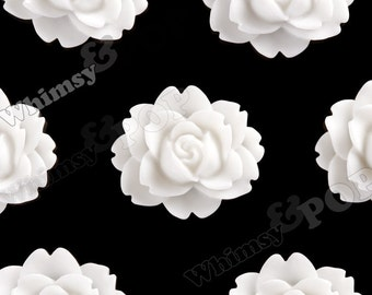 White Cabbage Rose Resin Cabochons, Peony Flower Shaped, Flatback Flowers, Flat Back Cabochons, 18mm x 16mm (R3-017)