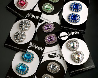 16 - Mixed Sample Pack of Gem Acrylic Buttons,  Rhinestone Buttons, Shank Buttons, 25mm (R6-110/117)