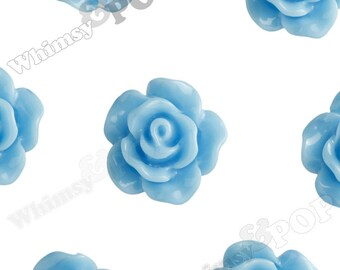 10mm - Light Blue Small Detailed Flower Rose Resin Cabochons, Rose Shaped, 10mm Rose Cabochons, 10mm x 4mm (R1-074)