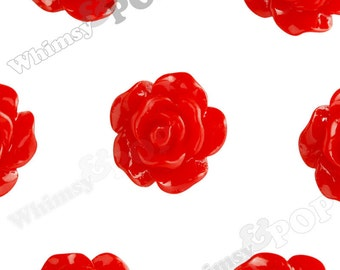 10mm - Red Small Detailed Flower Rose Resin Cabochons, Rose Shaped, 10mm Rose Cabochons, 10mm x 4mm (R1-072)