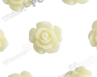 10mm - Yellow Ivory Small Detailed Flower Rose Resin Cabochons, Rose Shaped, 10mm x 10m x 4mm (R1-082)