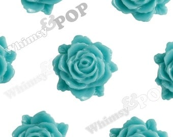Teal Bloomin' Rose Small Resin Cabochons, Rose Cabochons, Flower Cabochons, Flower Cabs, Flatback Roses, 12mm x 11mm (R2-001)