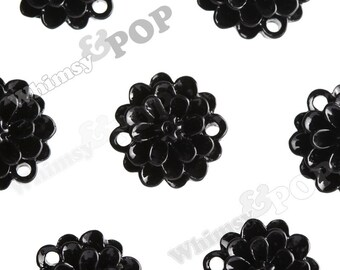 Black Small Dahlia Bead / Cabochons, Flower Cabochon, Flower Bead, Flower Connector, Resin, 14mm (R2-027)