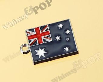 1 - Australian Flag Enamel Charm,   22MM   x   15MM (3-6F)