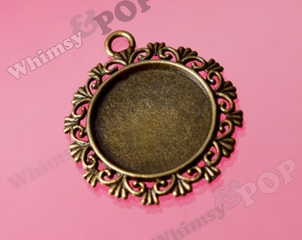5 - Antique Bronze Bezel Cameo Setting Charm Pendant Blanks, Fits 20mm x 20mm Round Cabochon (R8-072)