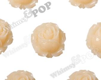 3 - Large Whisper Peach Detailed Rose Bud Cabochons, Rose Cabochons, Flower Cabochons, Flower Cabs,  Flower Shaped, 26mm (R4-021)