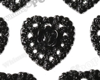 Black Rose Heart Flower Resin Cabochons, Lacy Lace Heart Shaped Flatback Cabochons, Valentine's Day Cabochons, 16mm x 16mm (R2-074)