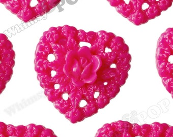 Fuchsia Rose Heart Flower Resin Cabochons, Heart Cabochons, Heart Shaped, 16mm (R2-059)