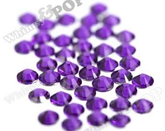 SS12 - 250 PACK of Velvet Purple 14 Facet Resin Rhinestones, SS12 Resin Flatback Rhinestones, 3mm Resin Rhinestones