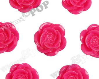 Large Fuchsia Hot Pink Flower Cabochons, Flower Cabs, Flower Shaped, 18mm (R8-034,C2-09) - Sold in Packs of 10, 20, or 30 Pieces