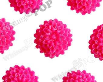 Fuchsia Hot Pink Tiny Dahlia Flower Cabochons, Flower Cabs, Dahlia Flatbacks, Flat Back Flowers, Flat Backs, 10mm x 5mm (R4-008)