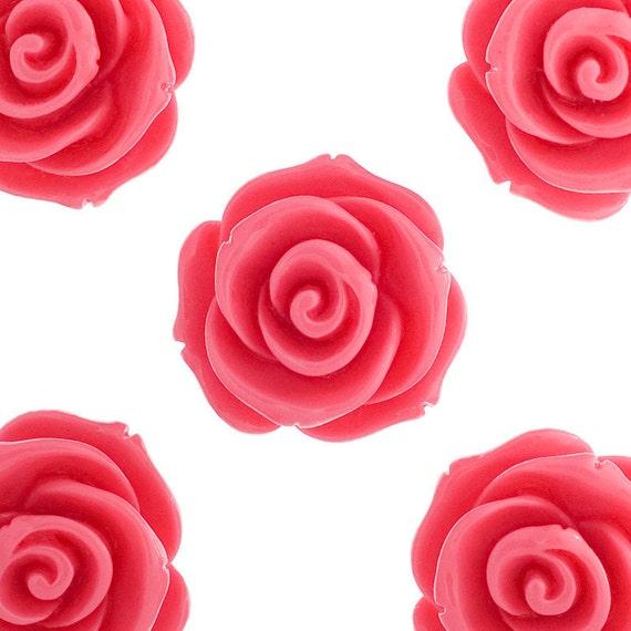 23mm - Large Bubblegum Pink Rose Cabochons, Flower Cabochons, Rose Shaped, Chunky Rose Flatbacks, 23mm Rose Cabochons (R5-016)