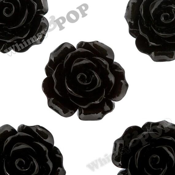 Large Detailed Black Rose Deco Resin Cabochons, Flower Shaped, Flatback Roses, Flat Back Roses, Flower Cabochons, 20mm (R1-019)