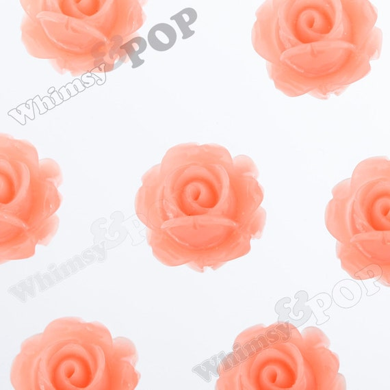 10 - Vintage Deco Peach Rose Bud Resin Cabochons, Flower Shaped, 15 MM x 8 MM