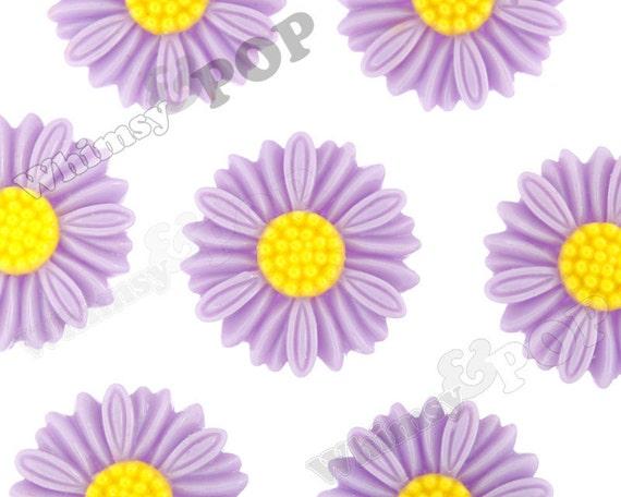6 - Large Deco Light Purple Daisy Sunflower Resin Cabochons, Flower Shaped, 27 MM x 5 MM