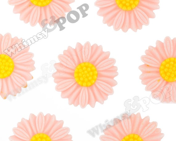 6 - Large Deco Shabby Chic Peach Daisy Sunflower Resin Cabochons, Flower Shaped, 27 MM x 5 MM