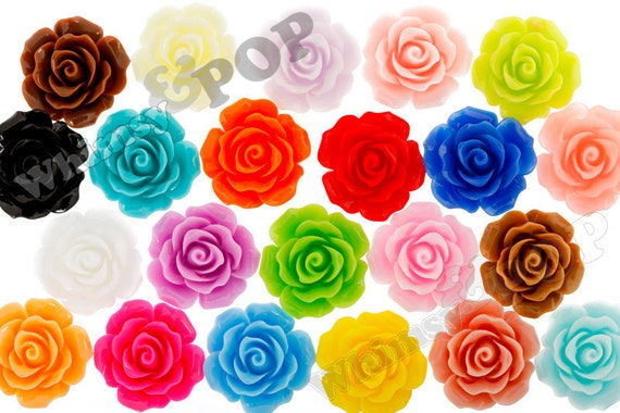 60 - Large Detailed MIXED Colors Rose Deco Resin Cabochons, Flower Shaped, 20 MM x 9 MM (R1-001 - R1-025 mix)