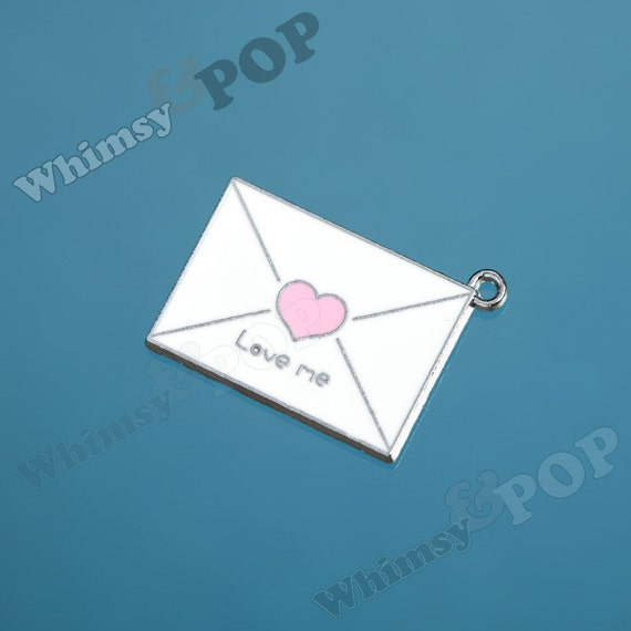 1 - Love Note Snail Mail Love Me Pendant Charms (3-2C)