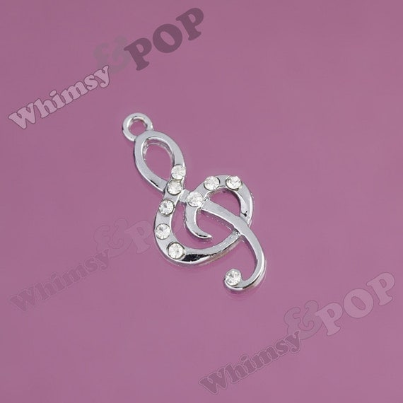 1 - Treble Clef Musical Note Crystal Rhinestone Charm (3-6A)
