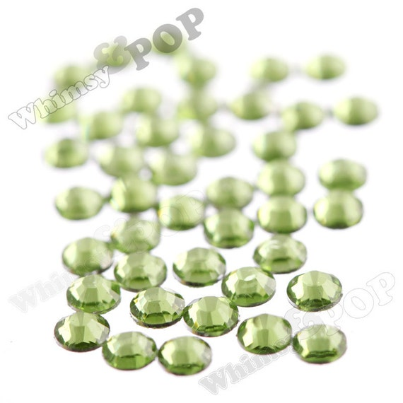 SS12 - 250 PACK of Peridot Green 14 Facet Resin Rhinestones, SS12 Resin Flatback Rhinestones, 3mm Resin Rhinestones