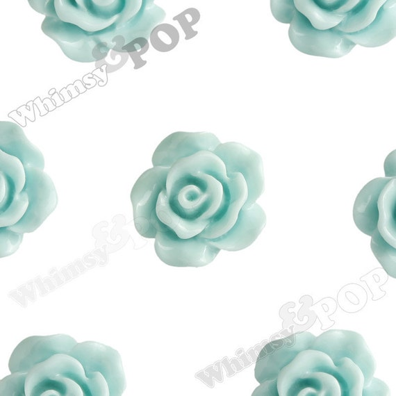 10mm - Aqua Blue Small Detailed Flower Rose Resin Cabochons, Rose Shaped, 10mm Rose Cabochons, 10mm x 4mm (R1-075)