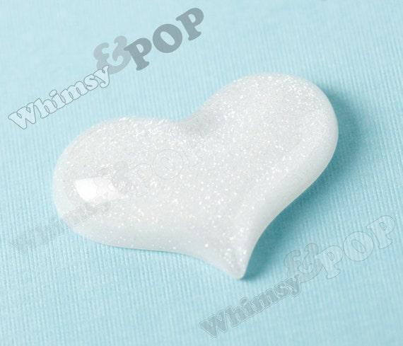 1 - Large White Glitter Heart Resin Flatback Deco Cabochons, 50MM x 38MM