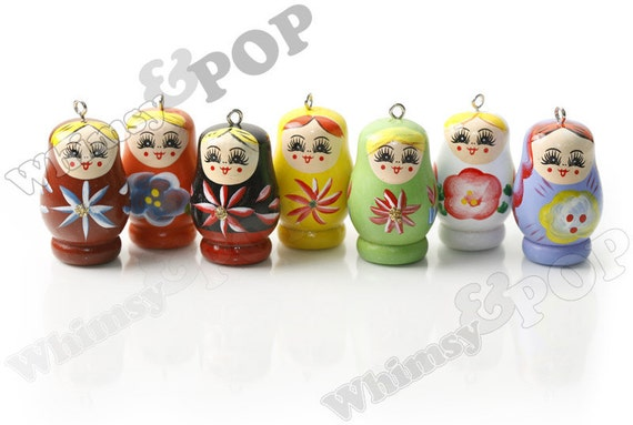 19 - Mixed Color Wooden Russian Matryoshka Pendants
