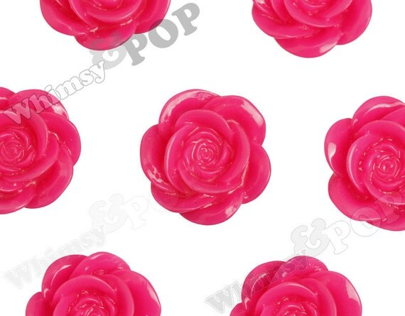 Large Fuchsia Hot Pink Flower Cabochons, Flower Shaped, 18mm (R8-034,C2-09) - Sold in Packs of 10, 20, or 30 Pieces