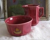 Cream and Sugar Set  - MOVING SALE - Red Autumn Leaf Niagara Falls Ceramic Souvenir