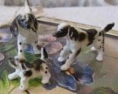 English Springer Spaniel Family - Miniature Porcelain Dogs