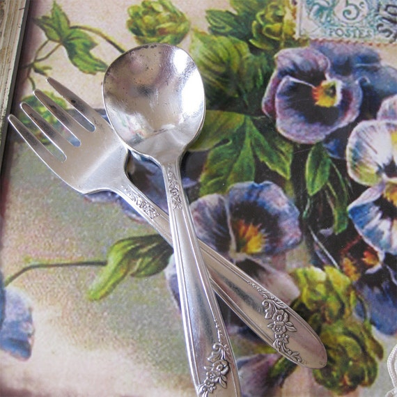 Vintage Queen Bess Flatware for Baby - Silverplate