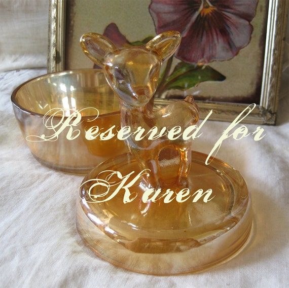 Reserved for Karen - Bambi Powder Box - Jeanette Marigold Carnival Glass  - Vintage