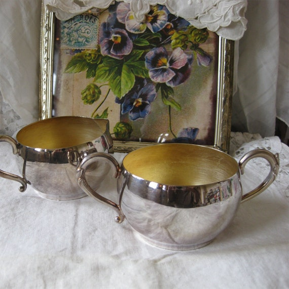 Silverplate Cream and Sugar Set - MOVING SALE - Vintage