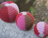 Big, Medium, and Small Set of Balls in Red, Pink, and Brown