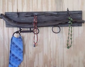 Barnwood Jewelry Tie Holder with Vintage Harness Hames