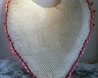 Vintage Country Cottage Handmade Crochet Lace Heart Pillow