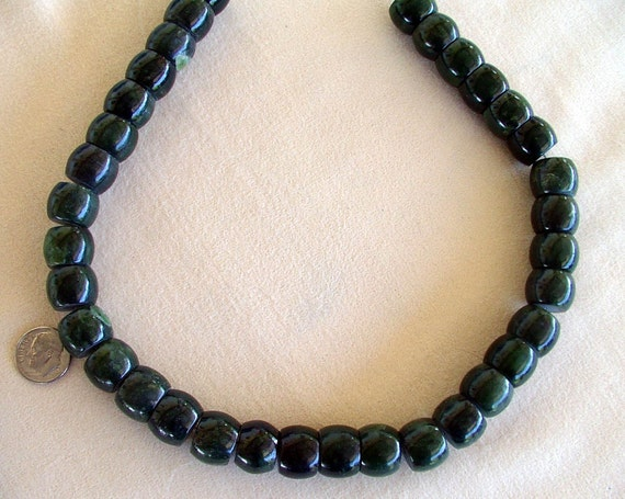 "Beads Chunky Dark Green Nephrite Jade 15mm round flat end 16"" string"