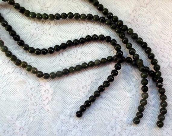 """Beads Dark Green Jade 7mm Round 16"""" string"""