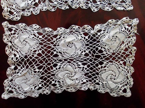 Vintage Lot of 3 Rectangular Ecru Crochet Lace Table Toppers