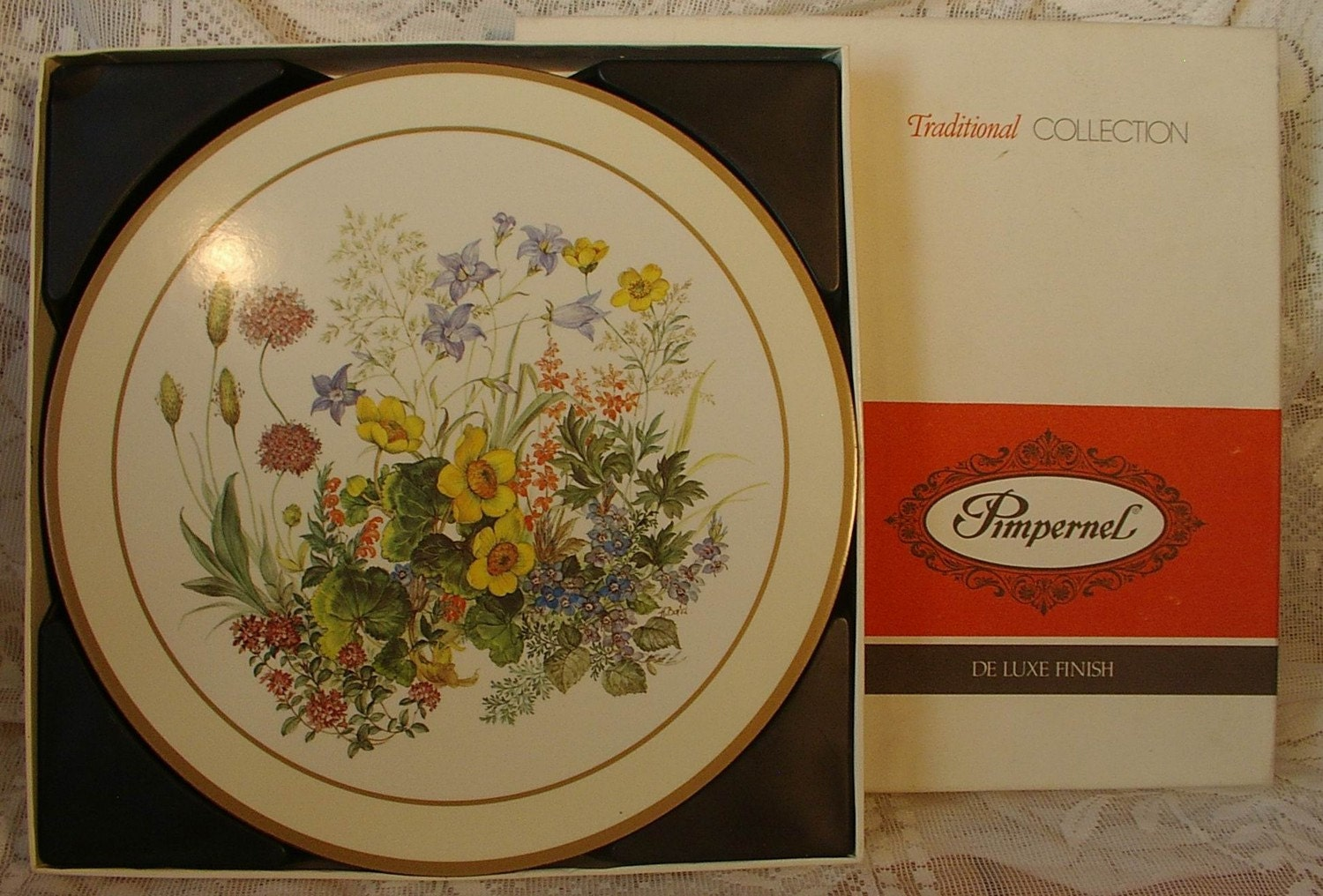 6 Pimpernel Round Meadow Flowers Cork Backed Placemats