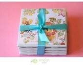 "Tile Coasters - Set of 4 ""Vintage Floral Text"" Collection"