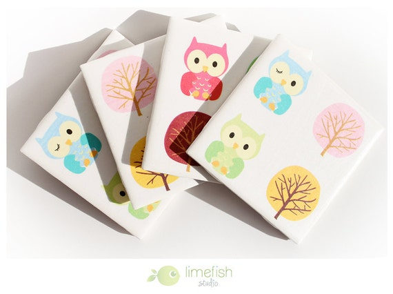 "Set of 4 Tile Coasters - ""Colorful Forest Owl"" Collection"
