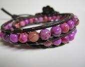 CLEARANCE - Pink Impression Jasper Double Leather Wrap Bracelet