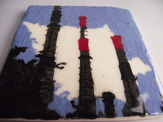 Queens / New York Power Plant Smoke Stacks Tile
