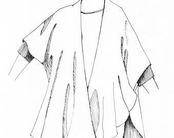 Long Ruana Pre-Sewn Dye-Ready Silk Garment Kit