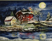 Twas the Night at Marquette's Light  Christmas Print