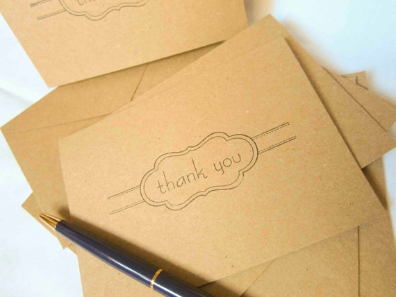 RESERVED for Mattie - Kraft Thank You Notecard Set - Set of 100 with Envelopes and Seals